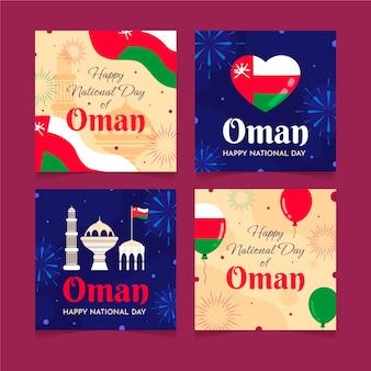 Giornata nazionale piatta disegnata a mano della raccolta di post di instagram dell'oman