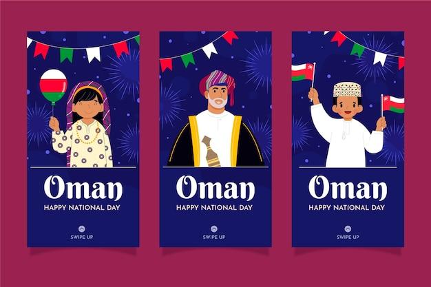 Giornata nazionale piatta disegnata a mano della raccolta di storie di instagram dell'oman