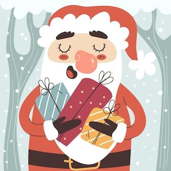 선물을 들고 산타와 손으로 그린 평평한 새해 그림