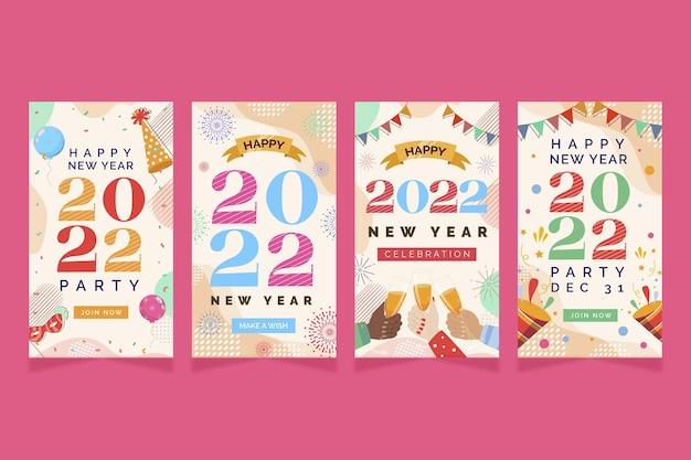 手描きフラット新年instagramストーリーコレクション