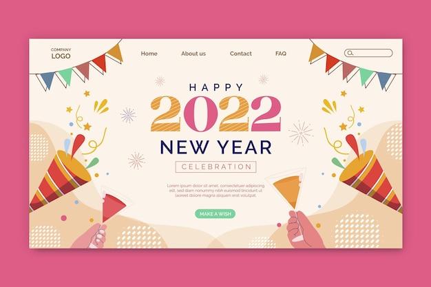 Modello di pagina di destinazione piatto del nuovo anno disegnato a mano