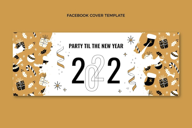 Hand drawn flat new year social media cover template