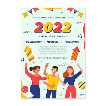 Hand drawn flat new year vertical poster template