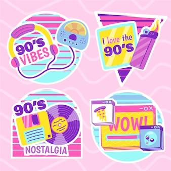 Коллекция рисованной плоских ностальгических значков 90-х