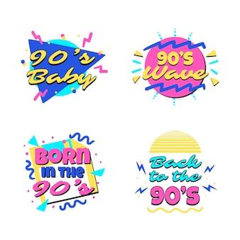 Modello di badge nostalgico piatto anni '90 disegnato a mano