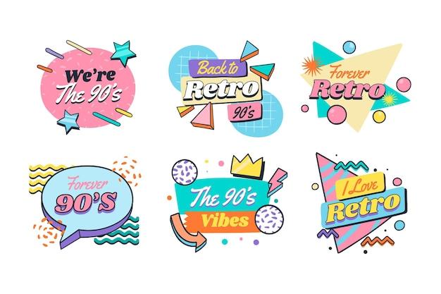 Distintivi nostalgici piatti disegnati a mano degli anni '90
