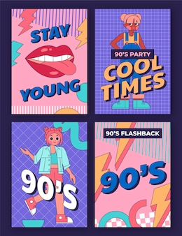 Hand drawn flat nostalgic 90's covers collection