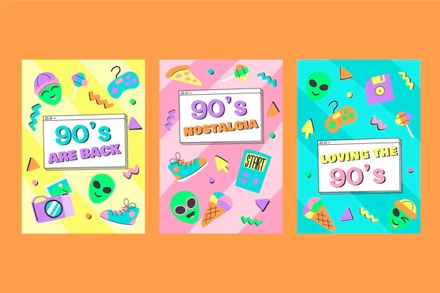 Коллекция рисованной плоских ностальгических обложек 90-х