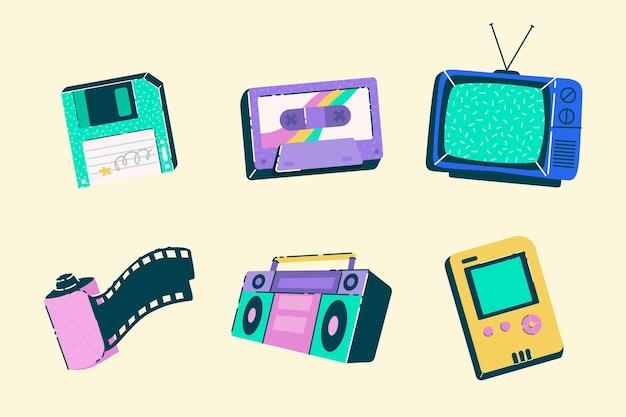 Collezione di elementi nostalgici piatti disegnati a mano degli anni '90