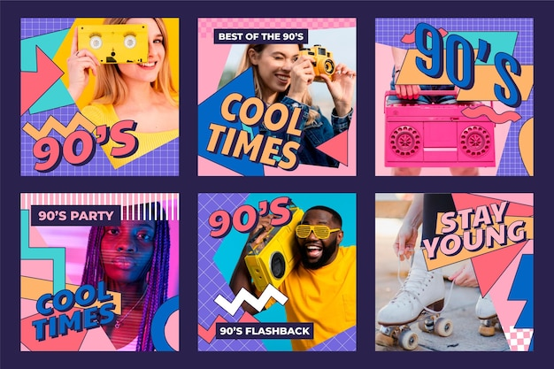 Hand drawn flat nostalgic 90's instagram posts collection with photo