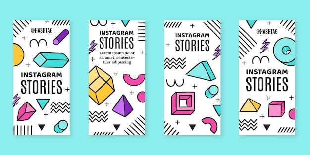 Storie di instagram nostalgiche piatte disegnate a mano degli anni '90