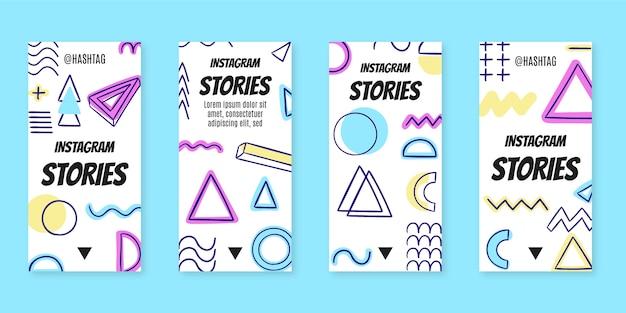 Нарисованные от руки плоские ностальгические истории из инстаграм 90-х