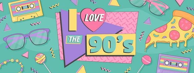 Hand drawn flat nostalgic 90's social media cover template