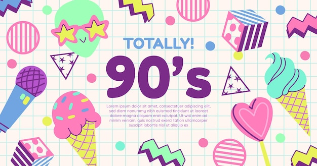 Ручной обращается плоский ностальгический шаблон сообщения в социальных сетях 90-х годов