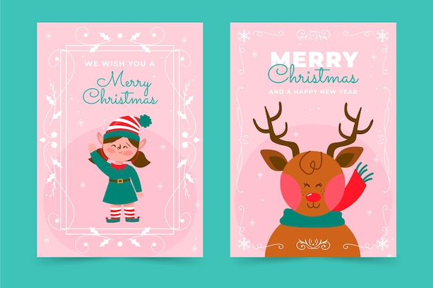 Hand drawn flat ornamental christmas cards collection