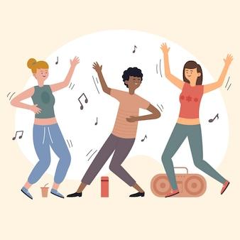 一緒に踊る手描きの平らな人々