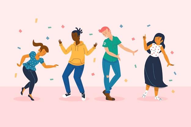 手描きの平らな人々が踊る