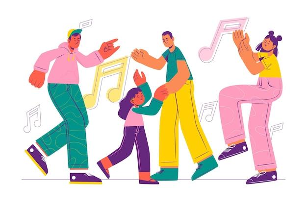 손으로 그린 플랫 사람들 춤