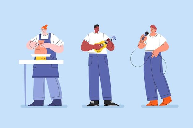 Set di hobby per persone piatte disegnate a mano