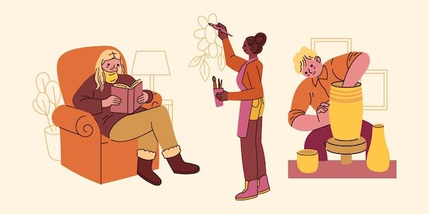Set di hobby per persone piatte disegnate a mano Vettore gratuito
