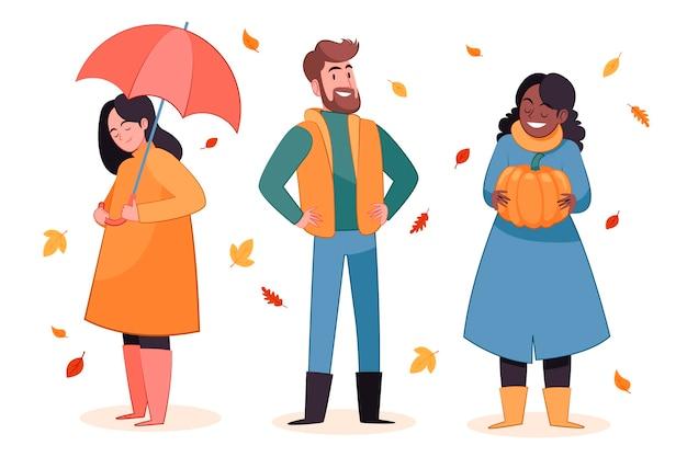 秋のイラストで手描きフラット人