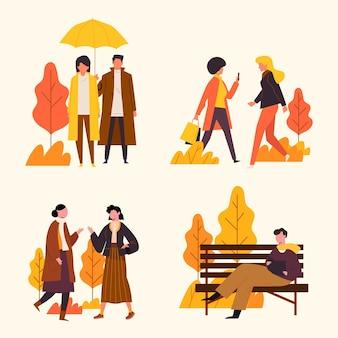 秋のセットで手描きフラット人
