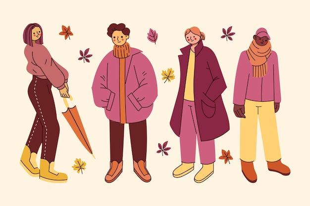 Осенний набор рисованной плоских людей
