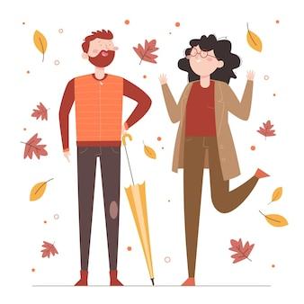 가을에 손으로 그린 평평한 사람들