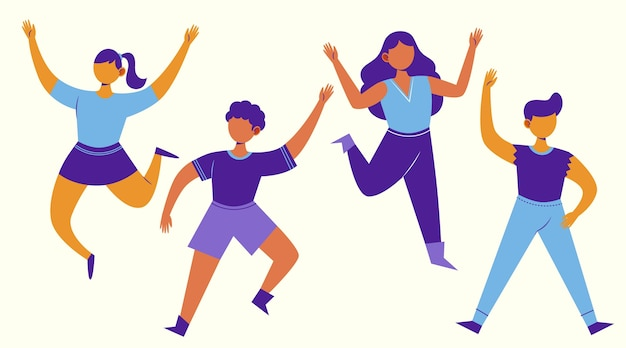 Hand drawn flat people jumping group