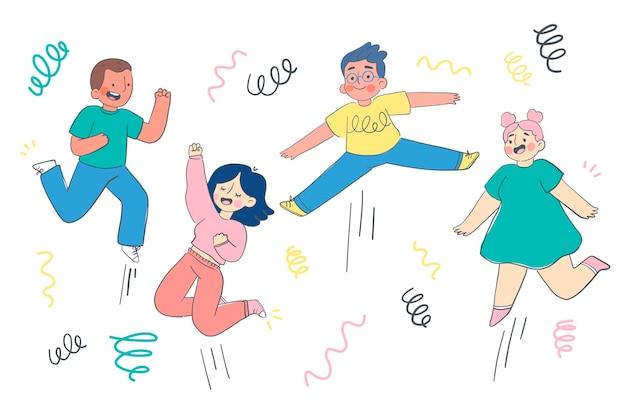 手描きの平らな人がジャンプします