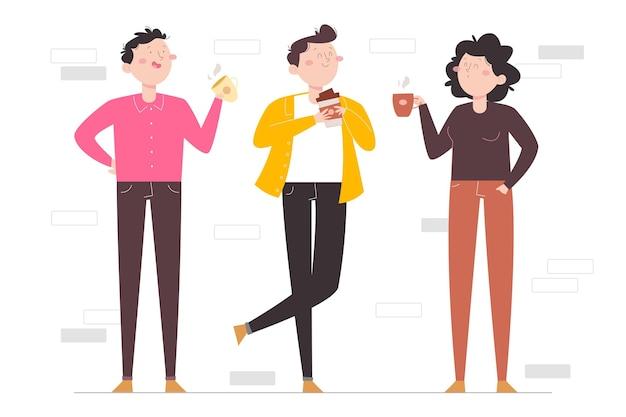 Нарисованные рукой плоские люди с горячими напитками