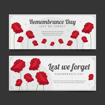 Set di bandiere orizzontali disegnate a mano per il giorno della memoria piatta