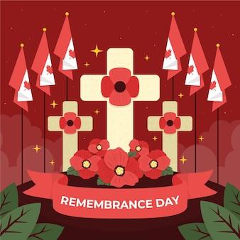 Нарисованная рукой плоская иллюстрация дня памяти