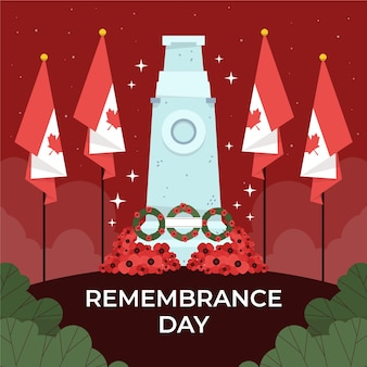 Hand drawn flat remembrance day illustration