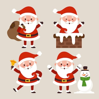 Hand drawn flat santa claus characters collection