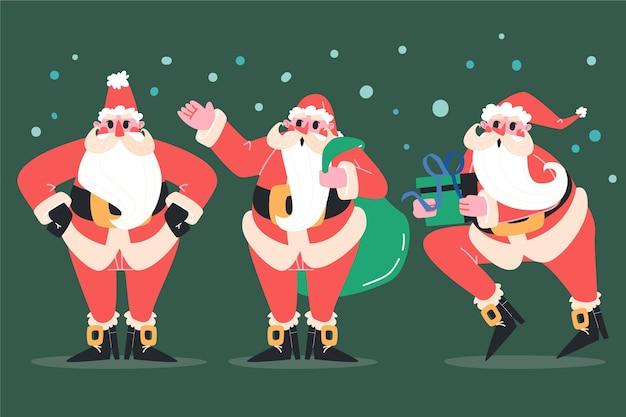 손으로 그린 평면 산타 클로스 캐릭터 컬렉션