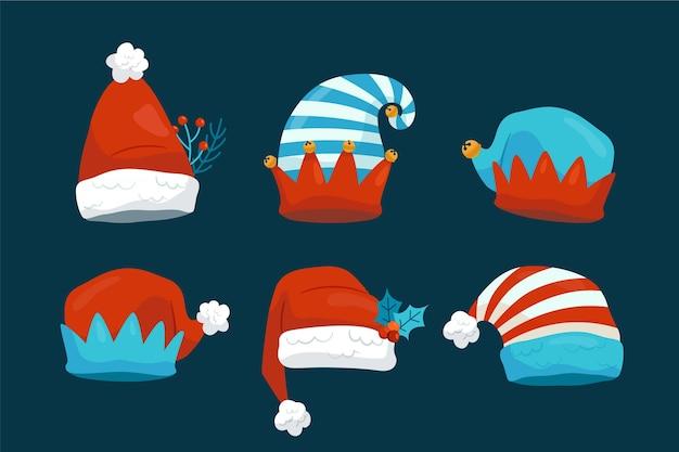 손으로 그린 플랫 산타 모자 컬렉션