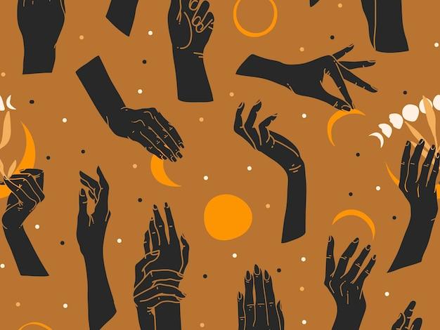 手と月の手描きフラットシームレスパターン。神秘的なテーマ。