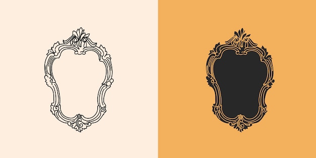 Hand drawn   flat setof mirror frame in victorian style and silhouette,magic art in simple style