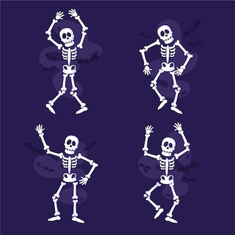Hand drawn flat skeletons collection
