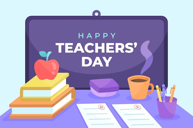 Hand drawn flat teachers' day background with desk and coffee