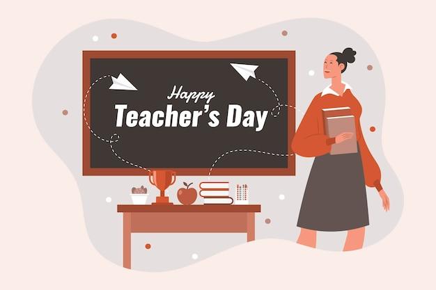 Ручной обращается плоский день учителя фон