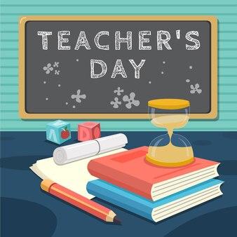 Sfondo del giorno degli insegnanti piatto disegnato a mano