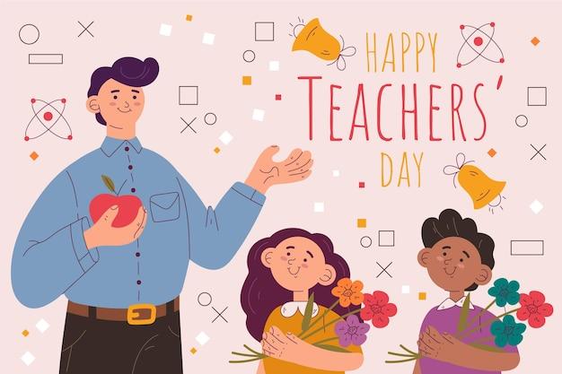 手描きのフラット教師の日の背景