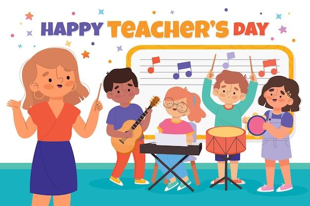 Hand drawn flat teachers' day background