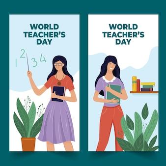 Hand drawn flat teachers' day horizontal banners set