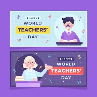 Набор рисованной плоский день учителя горизонтальные баннеры