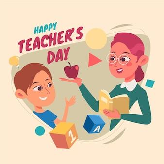 Нарисованная рукой плоская иллюстрация дня учителя