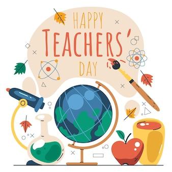 Hand drawn flat teachers' day illustration