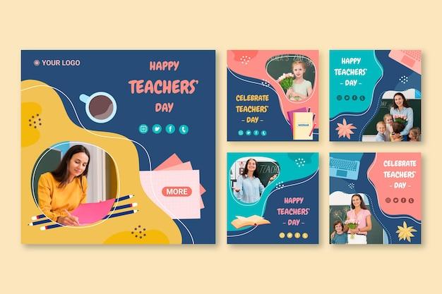 Collezione di post instagram per il giorno degli insegnanti piatti disegnati a mano con foto
